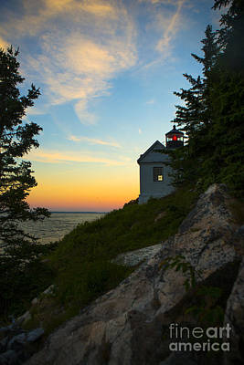 Bass Harbor Lighthouse At Sunset Art Print by Diane Diederich