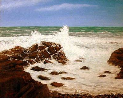 Gloucester Painting - Bass Rocks by Joseph Aiello
