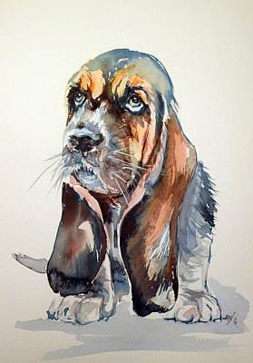 Basset Hound Painting - Basset Hound by Kovacs Anna Brigitta