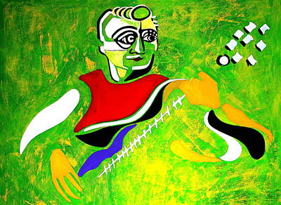 Guitare Painting - Bassiste  by Pascalle Raymond