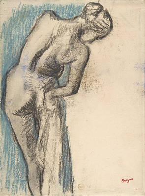 Printing Drawing - Bather Drying Herself by Edgar Degas