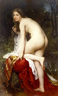 Shawl Painting - Bather by William-Adolphe Bouguereau