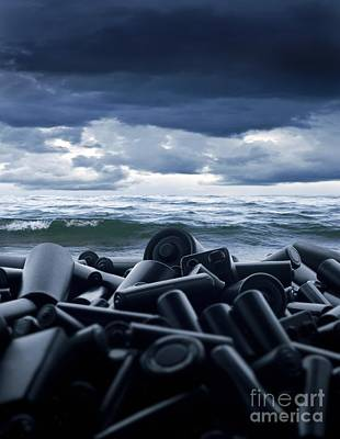 Digitally Manipulated Photograph - Batteries Polluting The Environment by Richard Kail