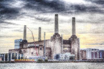 Target Threshold Watercolor - Battersea Power Station London Snow by David Pyatt