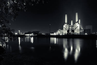 London Skyline Royalty-Free and Rights-Managed Images - Battersea Power Station Mono by Izzy Standbridge