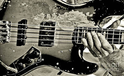Music Photograph - Embattled Bass Guitar by Robert Frederick