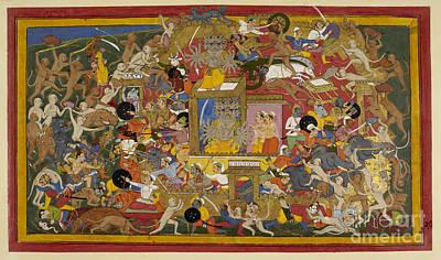 Battle Scene At Lanka Art Print by British Library