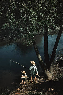 Depression Painting - Bayou Fishing, 1940 by Granger