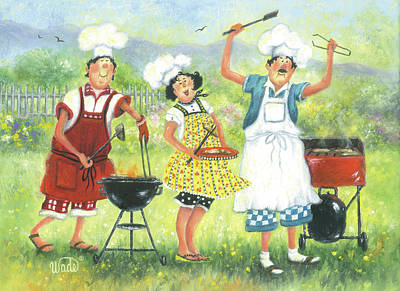 Italian Kitchen Painting - Bbq Chefs by Vickie Wade