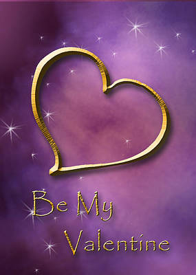 Digital Art - Be My Valentine Gold Heart by Jeanette K