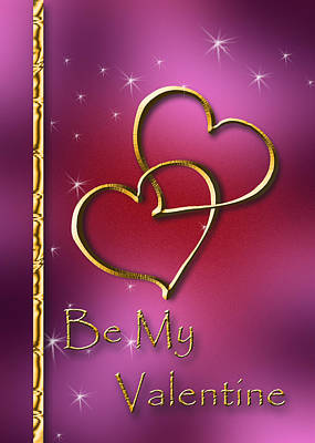 Digital Art - Be My Valentine Gold Hearts by Jeanette K