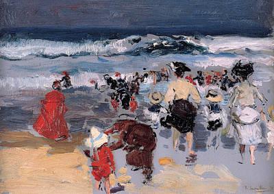 Sorolla Painting - Beach At Biarritz by Joaquin Sorolla y Bastida