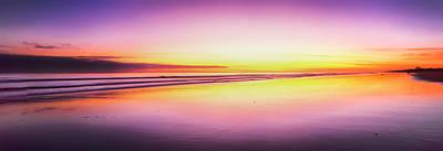 Beach At Sunrise, Papamoa Beach, Bay Art Print by Panoramic Images