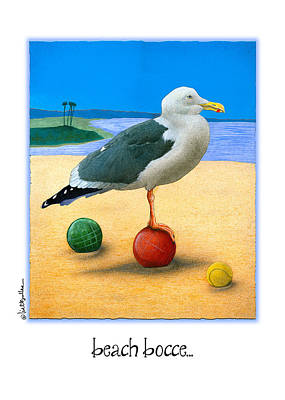 Bocce Painting - Beach Bocce... by Will Bullas