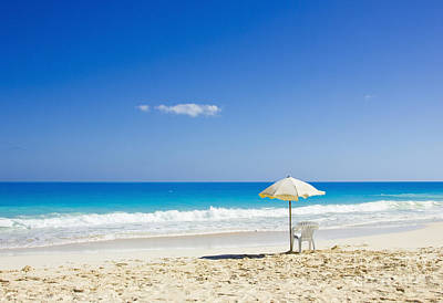 Art Print featuring the photograph Beach Chair And Umbrella On Idyllic Tropical Sand by Mohamed Elkhamisy
