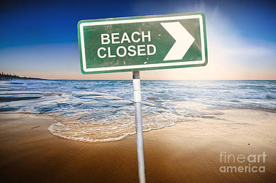 Stop Sign Photograph - Beach Closed Sign On Australian Landscape by Jorgo Photography - Wall Art Gallery