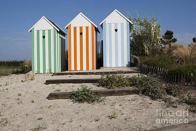 Photograph - Beach Huts On A Traffic Roundabout In France Near Roscoff. by Paul Felix