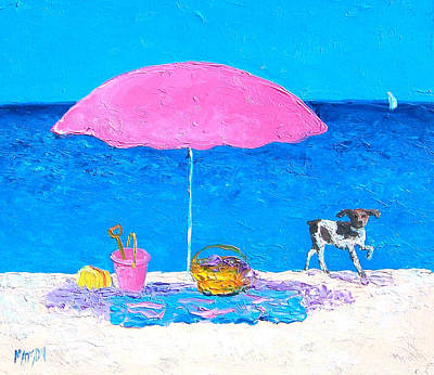 Dogs On Beach Painting - Beach Picnic by Jan Matson