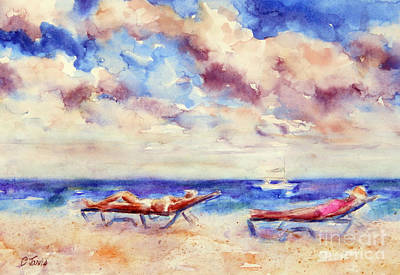 Painting - Beach Recliners by Carolyn Jarvis