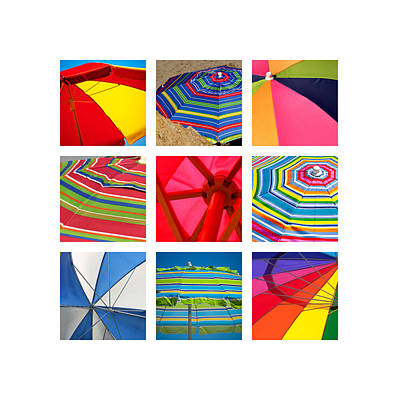 Colorful Fabric Photograph - Beach Umbrellas by Art Block Collections