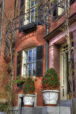 Us Flag Photograph - Beacon Hill Windows by Joann Vitali