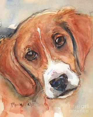 Watercolor Pet Portraits Wall Art - Painting - Beagle Dog  by Maria's Watercolor