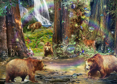 Deer Drawing - Bear Forest Magical by Alixandra Mullins