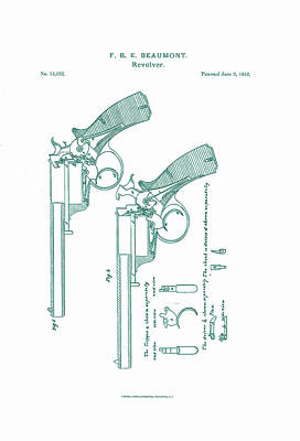 Beaumont Revolver Patent Art Print by Georgia Fowler