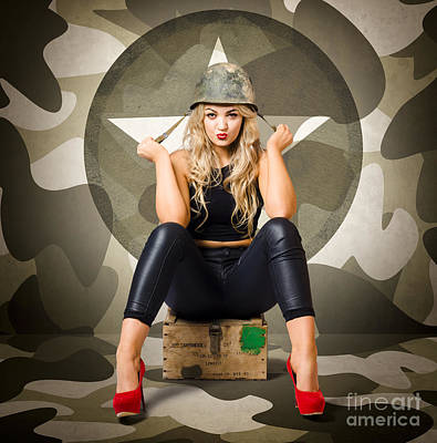 Cover Girl Photograph - Beautiful Army Pinup Woman On Ammo Box by Jorgo Photography - Wall Art Gallery