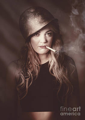 Photograph - Beautiful Blond Army Pinup Girl Smoking Cigarette by Jorgo Photography - Wall Art Gallery