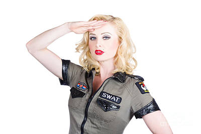 Attitude Photograph - Beautiful Blond Woman In Military Outfit by Jorgo Photography - Wall Art Gallery