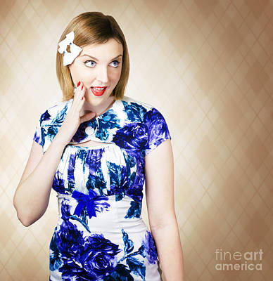50s Photograph - Beautiful Blonde 50s Pinup Woman Expressing Shock by Jorgo Photography - Wall Art Gallery