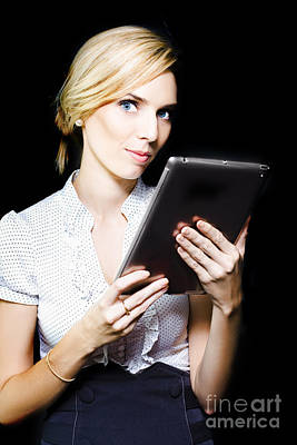 Electronic Photograph - Beautiful Blonde Using A Touch Screen Tablet by Jorgo Photography - Wall Art Gallery