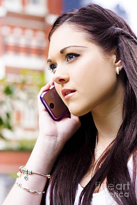 Beautiful Business Woman On Smart Mobile Phone Art Print
