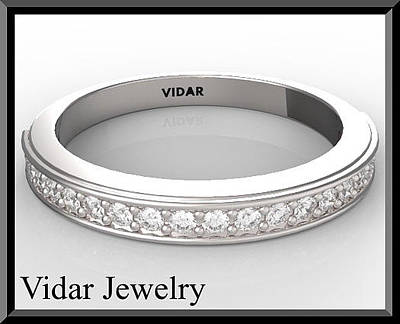 14k Jewelry - Beautiful Diamond Half Eternity 14k White Gold Woman Wedding Ring by Roi Avidar