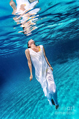 Photograph - Beautiful Female Underwater by Anna Om