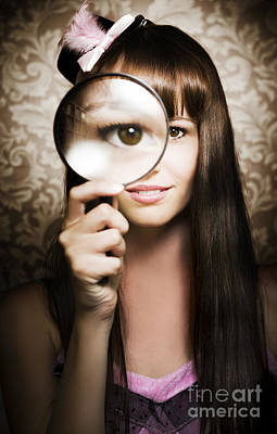 Beautiful Female Watching Through Magnifying Glass Art Print