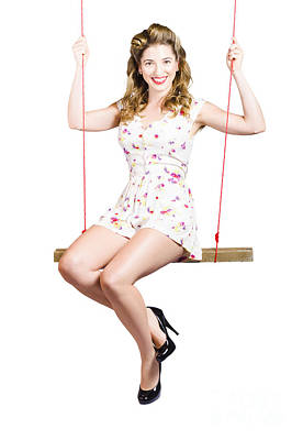 Beautiful Fifties Pin Up Girl Smiling On Swing Art Print