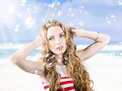 Beautiful Girl Wearing Summer Make-up On Beach Art Print