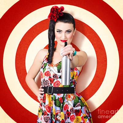 Beautiful Housewife Taking Aim With Cleaning Spray Print by Jorgo Photography - Wall Art Gallery