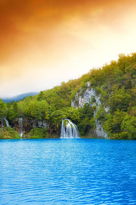 Abundance Photograph - Beautiful Spring Lake Waterfall Art by Modern Art Prints