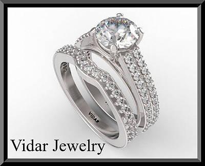 14k Jewelry - Beautiful Moissanite And Diamond 14k White Gold Wedding Ring Set by Roi Avidar