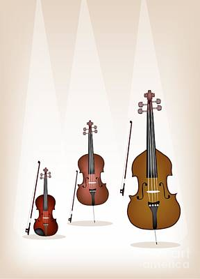 Beautiful Musical Instrument Strings On Brown Background Art Print by Iam Nee