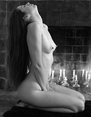 Naked Photograph - Beautiful Nude Girl By Fireplace by Bijan Studio