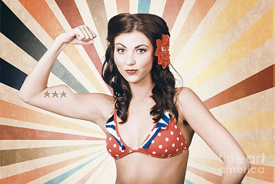 Digital Art - Beautiful Pinup Girl Flexing Muscle. Strength And Conditioning by Jorgo Photography - Wall Art Gallery
