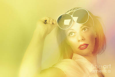 Beautiful Retro Pin-up Girl Wearing Futuristic Sunglasses  Art Print by Jorgo Photography - Wall Art Gallery