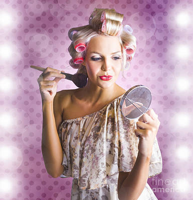 Beautiful Retro Woman Applying Makeup Cosmetics Art Print by Jorgo Photography - Wall Art Gallery