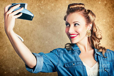 Snap Photograph - Beautiful Retro Woman Taking Selfie With Camera by Jorgo Photography - Wall Art Gallery
