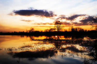 Evening Digital Art - Beautiful Sunset Reflecting In A Lake by Jaroslaw Grudzinski
