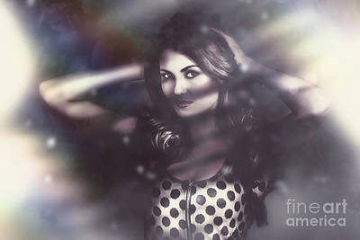 Floating Girl Photograph - Beautiful Vintage Fashion Model. Elusive Style by Jorgo Photography - Wall Art Gallery